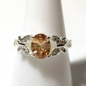 Ring Size 8.5 Simulated Diamond Butterfly #510